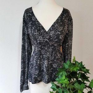 Ann Taylor Loft Floral V-Neck Long Sleeve Blouse